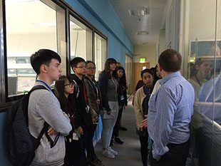 Student looking at the laboratory testing facilities at APHA Weybridge