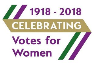 Votes for women logo: 1918 - 2018 Celebrating Votes for Women.