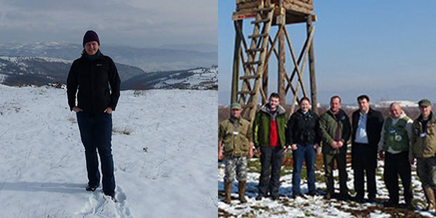 Photos of Sarah Beatham standing alone in snow and with a group of gentlemen in the snow with a timber tower behind.