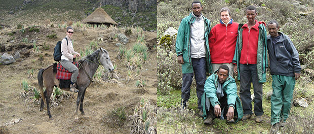 Photos of Flavie Vial riding a horse and standing with a group of gentlemen in Ethiopia