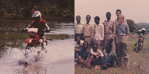 Photos of Jill Key riding a motorbike through water and standing with a group of gentlemen in Tanzania