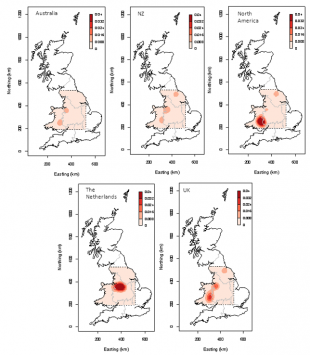 Image showing results of the different QUADS models depicted by 5 line drawings of the UK with red shaded areas.