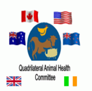 Image of QUADS logo: flags surrounding a world-like circle in the centre with the words, 'Quadrilateral Animal Health Committee.'