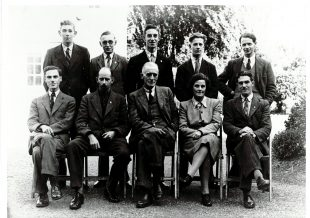 Photo of the Biochemistry Department that Ruth Allcroft was a member of: 9 gentlemen and one lady in a group photo..