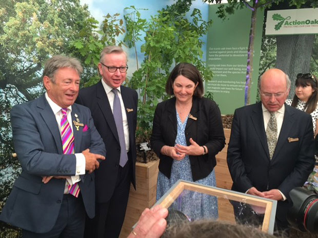 Alan Titchmarsh, Michael Gove, Nicola Spence and Lord Gardiner at the Chelsea Flower Show