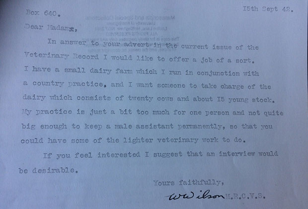 Responses received by Connie to in 1942 to enquiries made to cattle practitioners