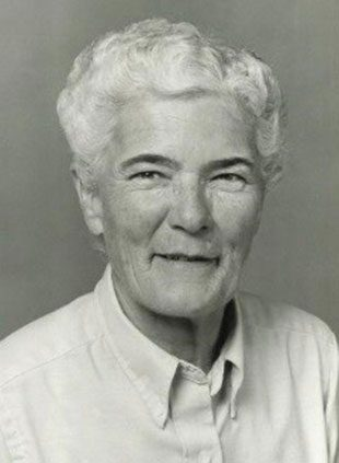 Margaret Meyer image in black and white. She is looking into camera.