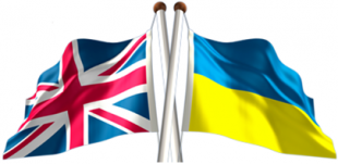 Image of two crossed flags: the Union Jack on the left and the flag of Ukraine on the right.