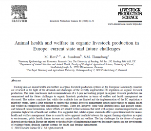 Image of a published article with the title, 'Animal health and welfare in organic livestock production in Europe: current state and future challenges.'