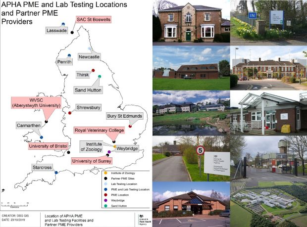 Image entitled: APHA PME and Lab Testing Locations and Partner PME Providers. Map of the UK indicating locations of such sites for: Lasswade, SAC St Boswells, Newcastle, Penrith, Thirsk, Sand Hutton, Shrewsbury, Bury St Edmunds, Royal Veterinary College, Institute of Zoology, Weybridge, University of Surrey, Starcross, University of Bristol, Carmarthen and WVSC Aberystwyth University). Ten images of APHA Veterinary Investigation Centres are displayed in a grid to the right of the map.