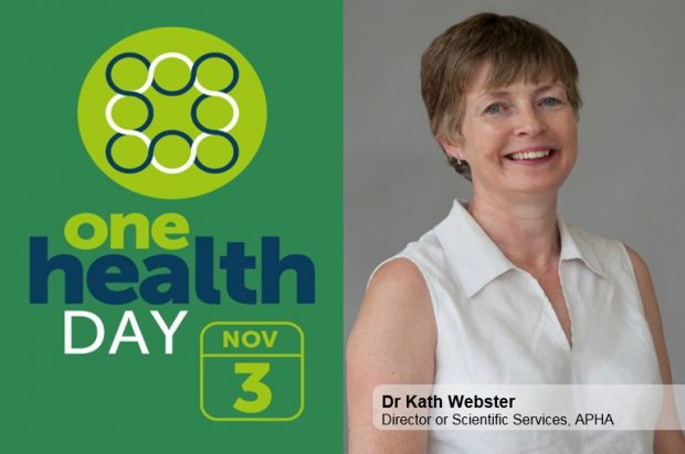 Image split in half showing 'One Health Day November 3' on one half and an image of a lady wearing a white sleeveless shirt smiling at camera with the words Dr Kath Webster, Director of Scientific Services, APHA