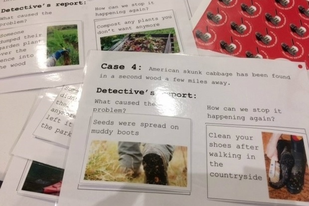 Image showing a pile of laminated cards each with a different 'case' and detective's report. The card showing on the image says, ' Case 4: American skunk cabbage has been found in a second wood a few miles away. Detective's report: What caused the problem? Seeds were spread on muddy boots. How can we stop it happening again? Clean your shoes after walking in the countryside.