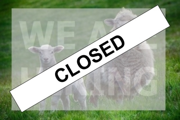 Text 'closed' across image of two sheep with the words 'we are hiring'.
