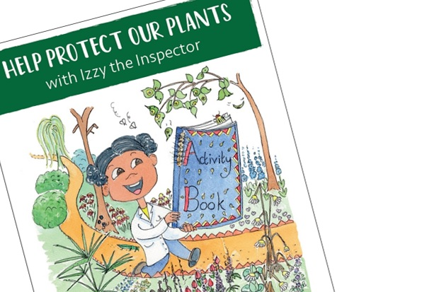 Front cover of our activity book for children, 'Help protect our plants with Izzy the Inspector'. Image of a cartoon girl walking through a garden holding a blue 'activity book'.