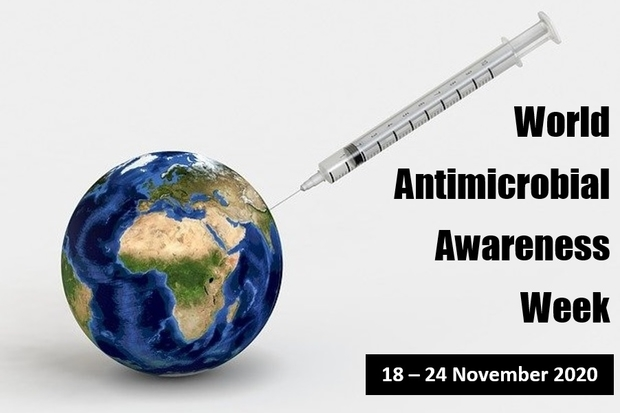 Image of the world with a syringe sticking out of it. World Antimicrobial Awareness Week 18 - 24 November 2020