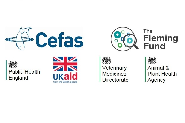 Series of Logos: Cefas, The Fleming Fund, Public Health England, UK Aid from the British people, Veterinary Medicines Directorate and Animal and Plant Health Agency