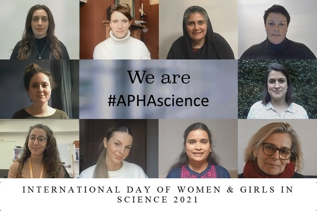 Image of ten female faces around a central title saying' We are #APHAscience'. A separate title below this says 'International Day of Women and Girls in Science 2021.'