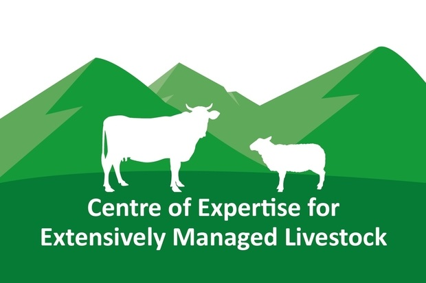 Logo for the Centre of Expertise for Extensively Managed Livestock. It features a while silhouette of a cow and sheep standing in front of green hills.