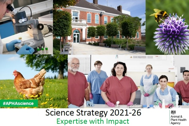 Image showing: a female scientist looking into a microscope, the front of the APHA Weybridge headquarters, a bee on a purple flower, a brown chicken in a field and a group photo of two male and four female scientists looking at the camera in a laboratory setting. The words 'Science Strategy 2021-26 Expertise with Impact' is written below with the APHA logo in the bottom right-hand corner.