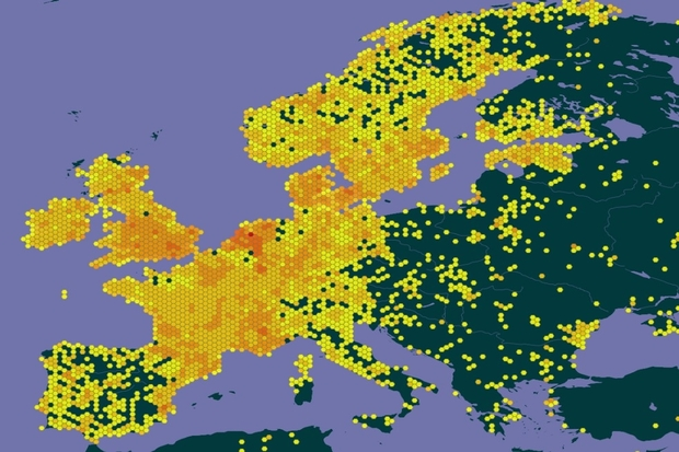 Image showing a map of Europe which is shaded in hues of yellow and green against a purple sea