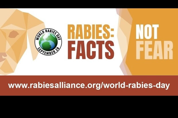 Image of the logo for World Rabies Day, September 28 next to 'Rabies: facts not fear'. www.rabiesalliance.org/world-rabies-day